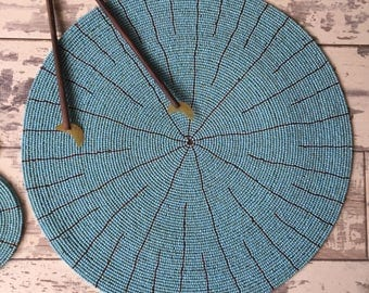 Blue Beaded Round Placemat 30cm
