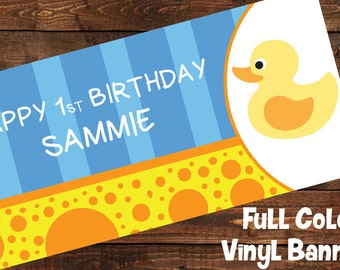 Yellow Rubber Ducky Personalized Baby Shower 1st Birthday Party Banner