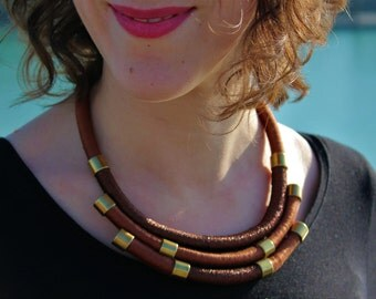 "Necklace ethnic breastplate brown/gold/bronze ""shinyMo"""