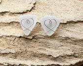 Genuine White Sea Glass Heart Post Earrings, Valentine, Sea Glass Earrings, Sea Glass Jewelry, Gift for Her, Stud Earrings, One of a kind
