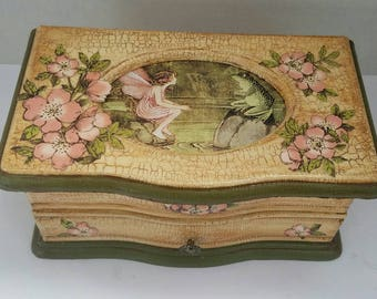 Vintage inspired upcycled fairy jewelry box. One of a kind