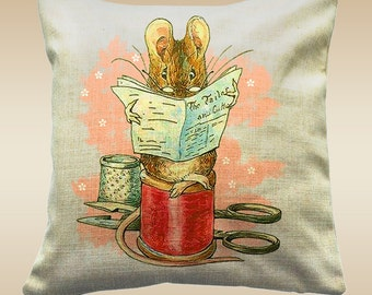 Peter Rabbit, Beatrix Potter Throw Cushion's, Adapted Peter Rabbit and Friends (**cover only**) - The Tailor Of Gloster