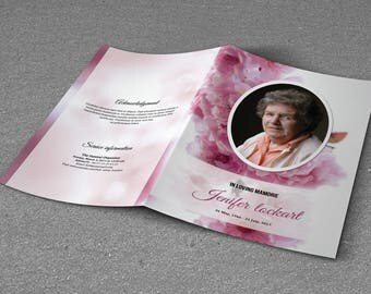 Printable Funeral Program Template, Memorial Program, Obituary Templates | Editable With Microsoft Word - EF57