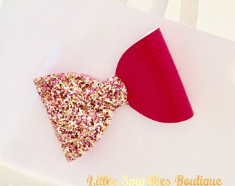 Pink hair bow, hot pink hair bow, pink glitter bow, gold glitter bow, medium hair bow, sparkly hair bow, hair acceasories