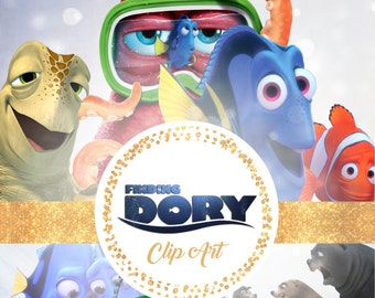 Finding Dory Clipart - Digital 300 DPI PNG Images, Photos, Scrapbook, Digital, Cliparts - Instant Download