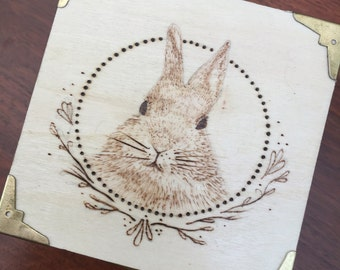 Rabbit Woodburned Trinket Box