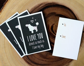 """Poodle Card Download- """"I love you almost as much as I love my dog"""" - A fun printable dog card for Valentines Day or any other day!"""
