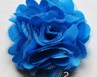 2 inch across shabby fabric flowers set of 2 blue color