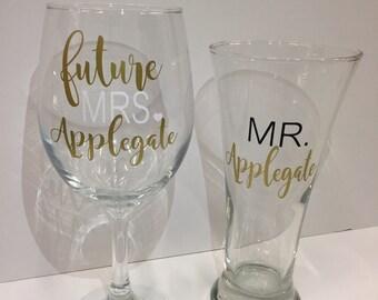 Future Mrs and mr glass set- future mrs glass- future mrs glass- engagement wine glass- engagement gift- bride to be gift- future mrs wine