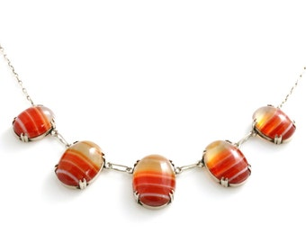 "ON LAYAWAY for ""T""! -Antique Scottish Sterling Silver Orange Banded Agate Necklace- Circa 1910"
