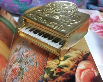 Vintage Miniature Piano Trinket Box, Golden Miniature Grand Piano