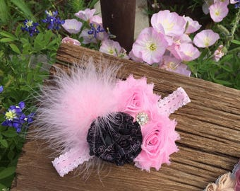 Handmade Pink and Black Flower Headband with Feather/Lace Headband