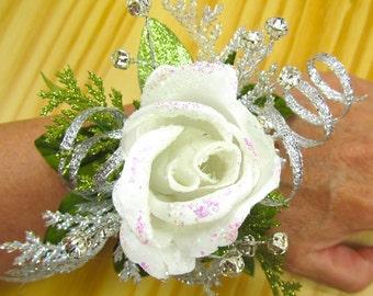 Rose Wedding Corsage, Glitter White Rose Wrist Corsage, Rhinestone Spray Wedding Corsage, Crystal and White Rose Slap On Bridal Corsage