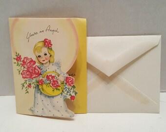Vintage Thank You Valentine Angel Card with Envelope