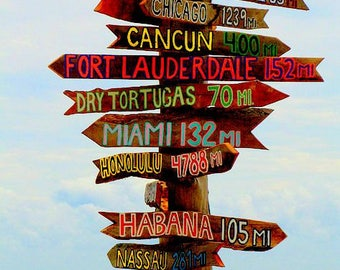 Set of 16 Directional Signs Tiki . Fairy Tale Destination---Directional Sign . Custom . Tiki . Arrows . Road Sign