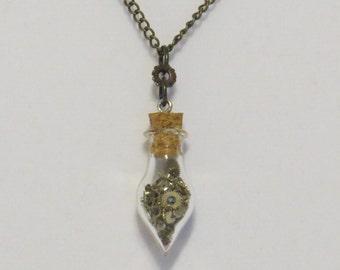 E-1748 Steampunk watch parts necklace