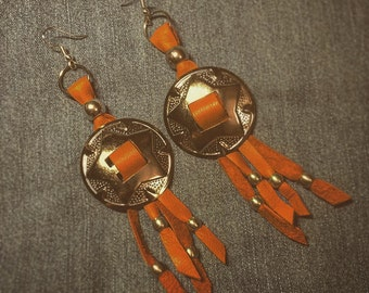 SALE! Light brown leather, conchos and silver beads earrings
