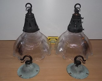 Vintage Clear Glass Holophane type Light Fitting