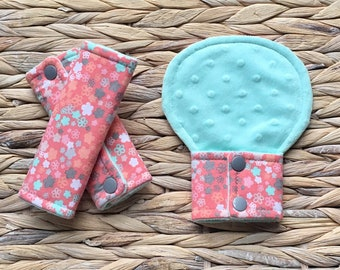 Baby Girl Car Seat Strap Cover Set, Belly Pad or Guard, Coral, Grey and Mint Floral Padded Baby Seatbelt Cover Set, Child Stroller or Pram