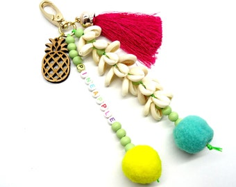 Pineapple pompom keychain, bohemian tassel bag keychain, wooden keyholder, purse keychain, lanyards, beaded keychain, tassel keyholder