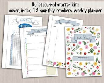 Bullet journal starter kit printable template - PDF bujo monthly tracker weekly planner cover index template bullet journal printable pages