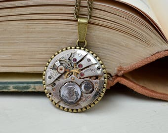 Steampunk Necklace Pendant Jewelry Timepiece Necklace Steam punk Jewelry Watch Swiss made Gift Retro Roamer Statement Industrial Jewellery