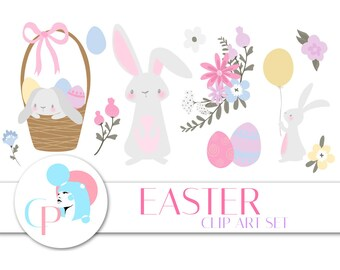 Easter ClipArt Set - Set of 66 - Easter ClipArt - Easter Graphic - Spring ClipArt - Cute Bunny - Easter Egg -Scrapbooking