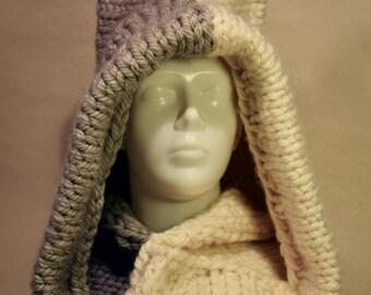 Winter knitted hood, Cat hat, cat ear hood scarf, hooded scarf, crochet