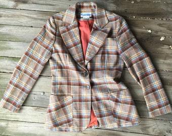 6(fits) 70's plaid wool blazer