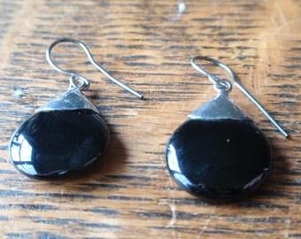 Vintage Sterling and Onyx Teardrop Earrings