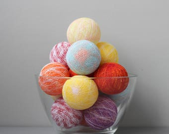 READY TO SHIP! Melange Cotton Ball Light | Handmade Garland