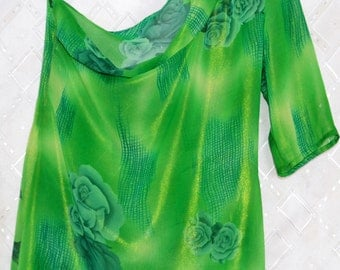 Silk blouse tunic Green blouse tunic with Flower Drawing one Sleeve  Custom made