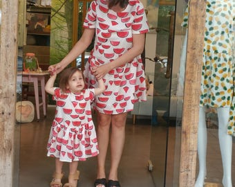 Watermelon oversize summer dress, Low waist line, Short sleeves, Buttoned down. scoop neck, casual sundress, day dress, printed loose fit