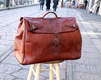 Original vintage bag brown leather travel bag