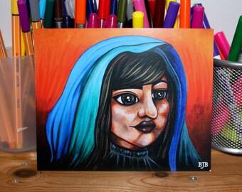 Print: Girl In Coloured Veil