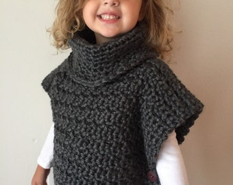 Child Size Crochet Aura Pullover, Crochet Child size Poncho, Cowl Sweater