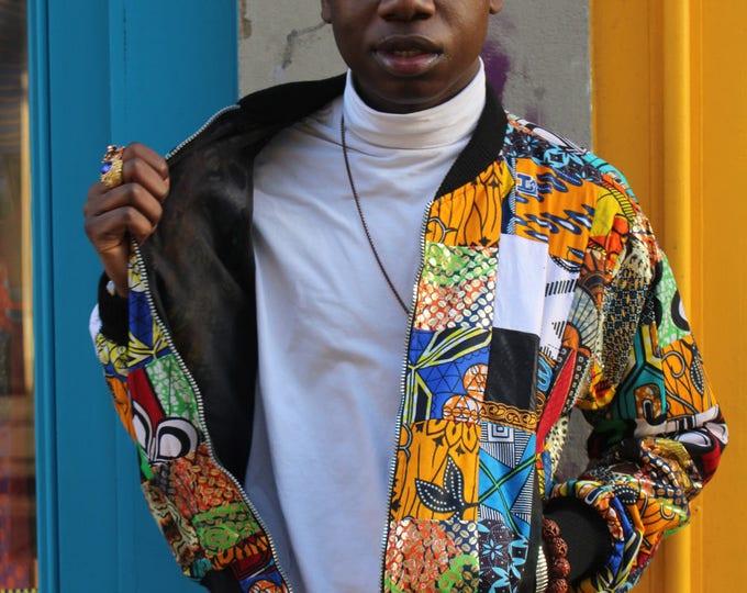 Featured listing image: African Bomber Jacket - Jaineba Jacket - Patchwork - African Clothing - festival Clothing - Festival Jacket - Wax Print Bomber - Wax Jacket