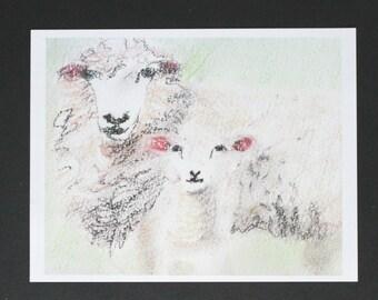 Ewe and Lamb, art PRINT