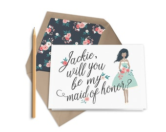 Printable Will You Be My Maid of Honor card | Matron of Honor | Maid of Honor Proposal Card | Custom Illustration | Personalized Photo Card