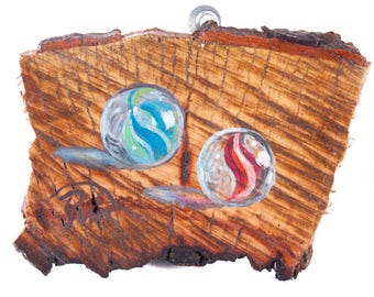 Marbles. Original still life painting on a wood piece, live edge. decoration for home, office and business.