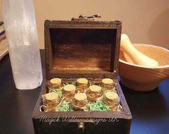 Magickal Wooden Chest With 100% Genuine Herbs For Spells, Altar Piece, Insence