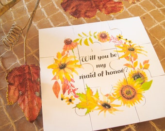 Maid of Honor Puzzle, Will You Be My Maid of Honor, Asking Bridesmaid, Maid of Honor Gift, Puzzle Invitation, Flower Girl Jigsaw, Wedding