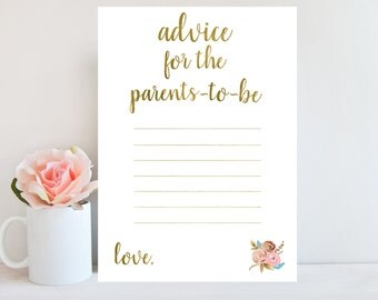 Advice for Parents To Be, Floral Baby Shower Game, Advice Cards, Floral Sign, Gold Advice Card, Baby Shower Game Printable BBSG1