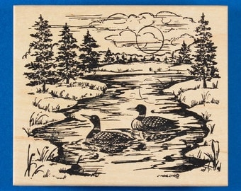 Landscape with Loons Rubber Stamp - River, Lake, and Pine Trees at Sunset or Sunrise - Northwoods Rubber Stamp