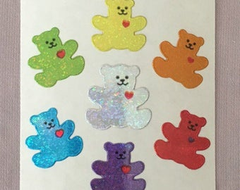 Vintage Sandylion Rainbow Bear Glitter Stickers. Hearts, Rainbow Bears