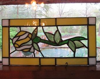 Stained glass rose, rosebud, yellow, glass panel, handmade, art glass, window panel