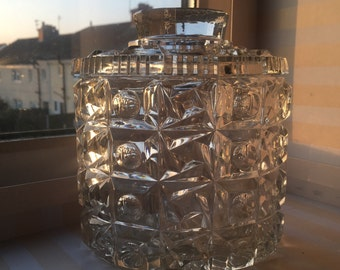 Vintage pressed glass cookie jar