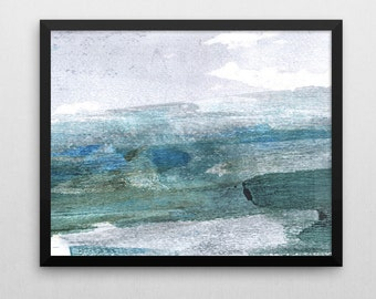 Watercolor Abstract, Blue Watercolor, Aqua Blue Seascape, Giclee Print, Watercolor Painting, Ocean Watercolor, Watercolor Prints, Ink Art