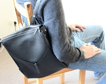 Black Backpack Grained