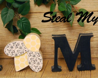 "Bee: DIY Unfinished Spring and Easter Letter Decoration ""O"" Insert ONLY - Craft for ""H M E"", ""L V E"" or ""WELCME"" Interchangeable Letter Set"
